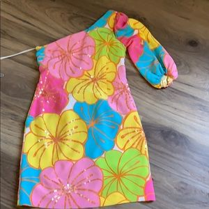 Lilly Pulitzer formal one sleeve dress.